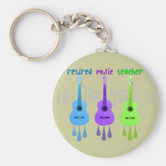 Retired Music Teacher 3 Guitars Design Keychain