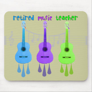 Retired Music Teacher 3 Guitars Design Mouse Pad