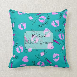 Retired NICU Nurse Teal Throw Pillow