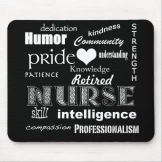 Retired Nurse-Attributes+Heart Mouse Pad