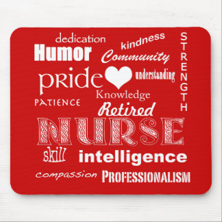 Retired Nurse-Attributes+Heart Mousepads