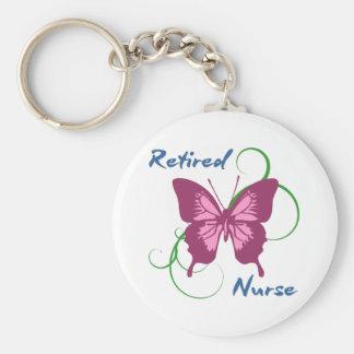Retired Nurse (Butterfly) Basic Round Button Keychain