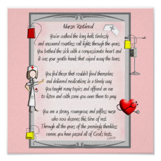 Retired Nurse Canvas Art Poem  by Gail Gabel,RN Poster