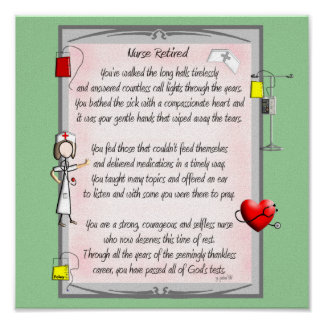 Retired Nurse Canvas Art Poem by Gail Gabel RN Posters