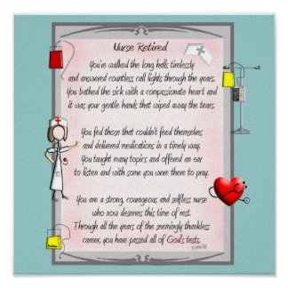 Retired Nurse Canvas Art Poem  by Gail Gabel,RN Poster