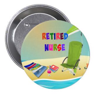 Retired Nurse, Fun in the Sun 3 Inch Round Button
