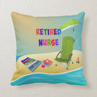 Retired Nurse, Fun in the Sun Throw Pillow