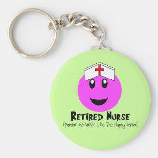 "Retired Nurse Gifts ""Happy Dance Pink Smiley"" Keychains"