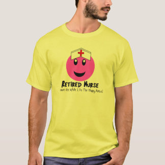 """Retired Nurse Gifts """"Happy Dance Pink Smiley"""" T-Shirt"""