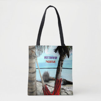 Retired Nurse, hammock on the beach Tote Bag