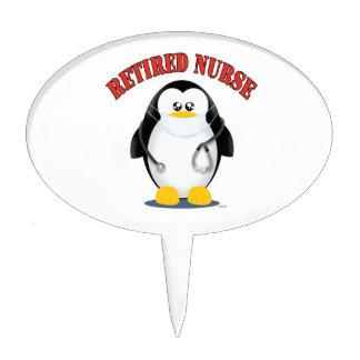 Retired Nurse Penguin Cake Topper