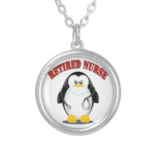 Retired Nurse Penguin Round Pendant Necklace