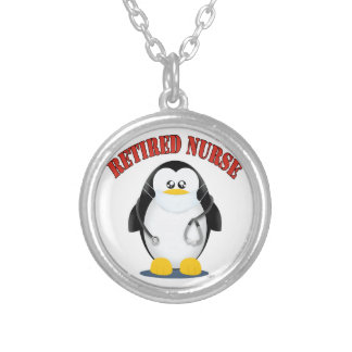 Retired Nurse Penguin Silver Plated Necklace