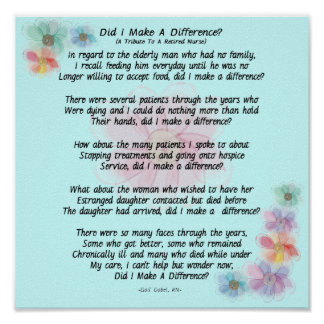 Retired Nurse Poem Did I Make A Difference Print