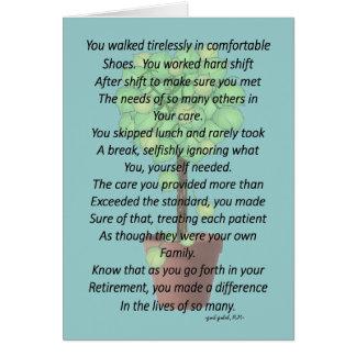 Retired Nurse Poem Greeting Card by Gail Gabel RN