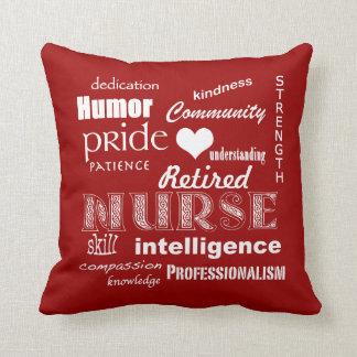 Retired Nurse Pride-Attributes+Heart Throw Pillows