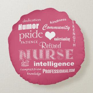 Retired Nurse Pride+Heart/Pink Round Pillow