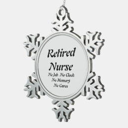 Retired Nurse Snowflake Pewter Christmas Ornament