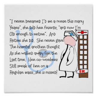 """""""RETIRED NURSE""""  Story  Art gifts Poster"""