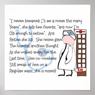 """""""Retired Nurse"""" Story Art Print/Poster Poster"""