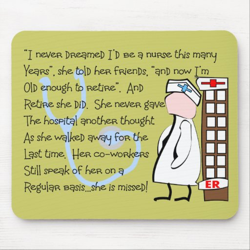 """""""Retired Nurse""""  Story Art--Unique Gift Items Mouse Pads"""