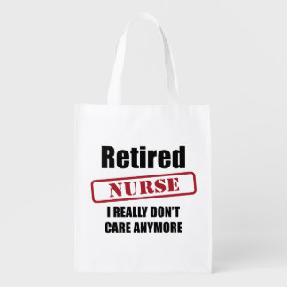 Retired Nurse (US spell) Reusable Grocery Bags