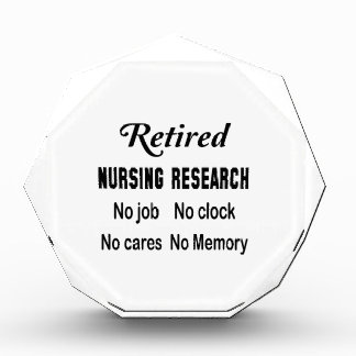 Retired Nursing research No job No clock No cares Acrylic Award