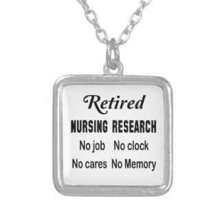 Retired Nursing research No job No clock No cares Square Pendant Necklace