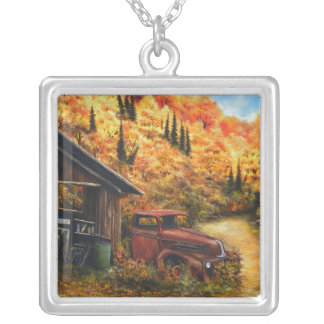 Retired Painting with Square Sterling Silver Neckl Silver Plated Necklace