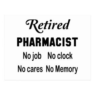 Retired Pharmacist No job No clock No cares Postcard