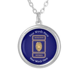 Retired Police Detective Custom Shield Round Pendant Necklace