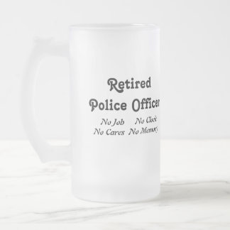 Retired Police Officer 16 Oz Frosted Glass Beer Mug