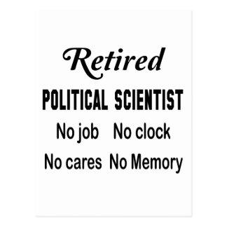 Retired Political scientist No job No clock No car Postcard