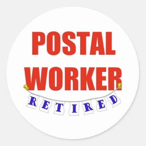 RETIRED POSTAL WORKER CLASSIC ROUND STICKER