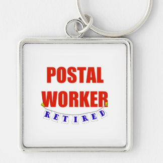 RETIRED POSTAL WORKER Silver-Colored SQUARE KEYCHAIN
