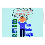 """Retired Postal Worker """"Thoughts"""" Funny Zip codes Cards"""