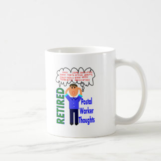 "Retired Postal Worker ""Thoughts"" Funny Zip codes Classic White Coffee Mug"
