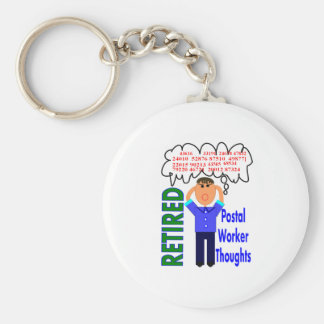 "Retired Postal Worker ""Thoughts"" Funny Zip codes Keychain"