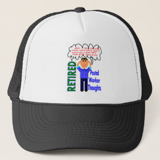 """Retired Postal Worker """"Thoughts"""" Funny Zip codes Trucker Hat"""