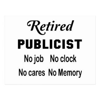 Retired Publicist No job No clock No cares Postcard