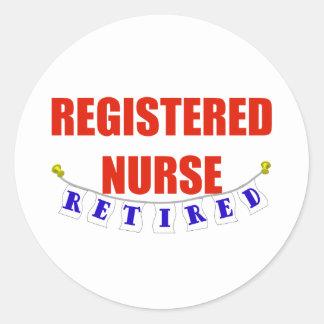 RETIRED REGISTERED NURSE CLASSIC ROUND STICKER
