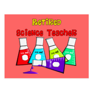 Retired Science Teacher Beeker Design Postcard