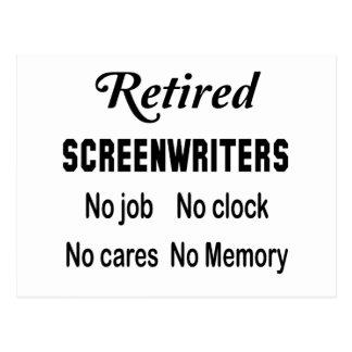 Retired Screenwriters No job No clock No cares Postcard