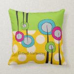 Retired Secretary Pillow Whimsical Flowers Design