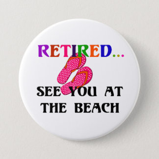 Retired - See You at the Beach, Pink Flip Flops Button