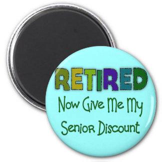 Retired SENIOR DISCOUNT 2 Inch Round Magnet