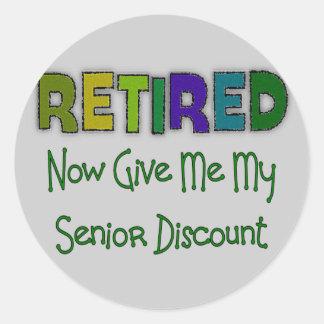 Retired SENIOR DISCOUNT Classic Round Sticker