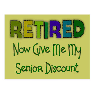 Retired SENIOR DISCOUNT Postcard