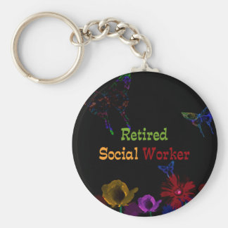 Retired Social Worker, abstract floral design Keychain