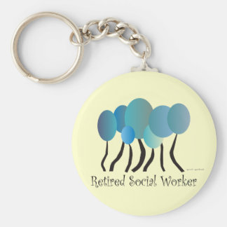 Retired Social Worker Gifts Artsy Trees Design Keychain